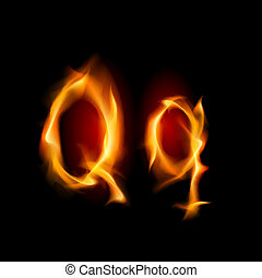 Fiery font Letter Q Illustration on black background