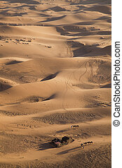 Landscape of desert - Sand Desert with Dunes in Marocco,...
