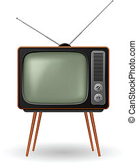 Old-fashioned retro TV Illustration on white background
