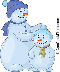 Snowmens mother and son - Cartoon, snowmens mother and son,...