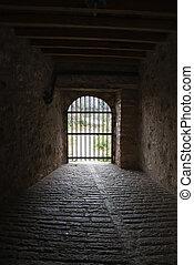 fechado, portão, Fim, túnel, antiga,...