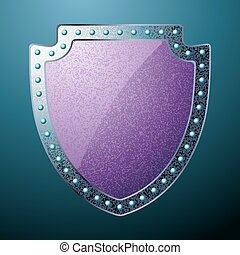 Scratched steel shield. EPS 8 vector file included