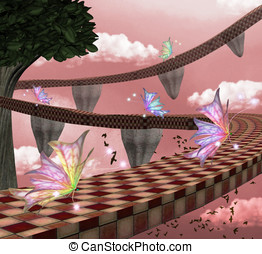 butterflies pathway - Fantasy road illustration