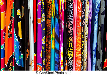 Colorful indian fabrics in a row