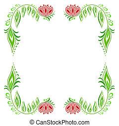 Floral frame_1 - Frame of floral motive on a white...