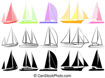 Set of yachts_2 - Vector illustration of multicoloured and...