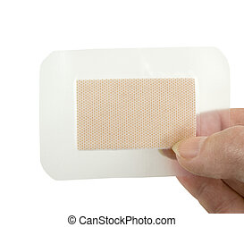 holding clear waterproof bandage - holding a clear...