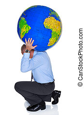 World on your shoulders - Photo of a businessman with a...