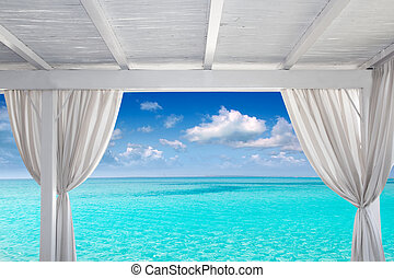 Gazebo, blanco, tropical, Caribe, playa