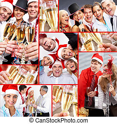 Celebrating New Year - Collage of happy business people...