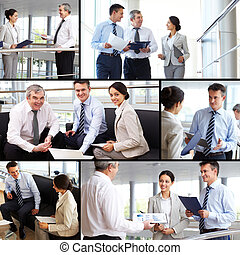 Teamwork - Collage of busy people discussing new working...
