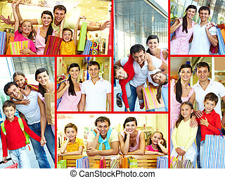 After shopping - Collage of joyful family and couple after...