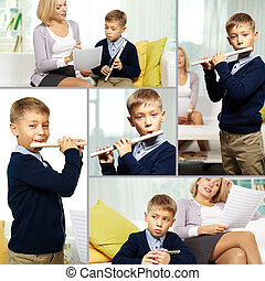 Lessons of music - Collage of happy pupil playing the flute...