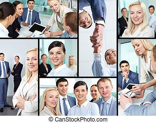 Business atmosphere - Collage of young business people...