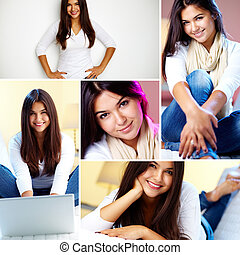 Pretty girl - Collage of young girl posing in front of...
