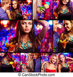 Having party - Collage of happy friends having party in...