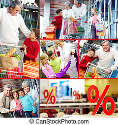 Consumers - Collage of happy grandparents and grandchildren...