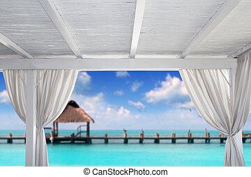 tropische,  Gazebo, weißes, sandstrand, karibisch
