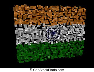 Indian flag on blocks illustration