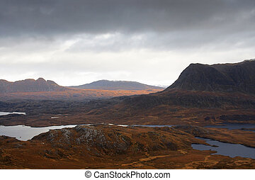 surreal illuminated landscape near Stac Pollaidh - panoramic...