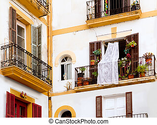 white houses in Ibiza town from Balearics