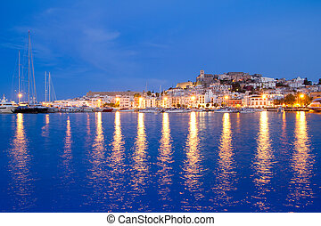 Ibiza island night view of Eivissa town and sea lights...
