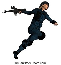 SWAT Girl - Special Weapons And Tactics woman running, 3d...