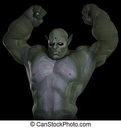 Angry Troll - Green skinned angry troll, 3d digitally...