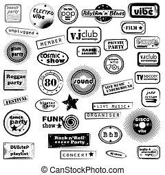 fiesta, Música, texto, sellos