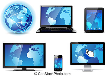 Electronic devices - Set of different electronic devices...