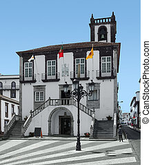 city hall at Ponta Delgada, capital city of the Azores at...