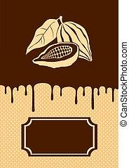 Ilustração, cacau, chocolate