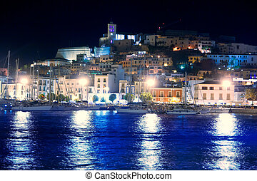Ibiza island Eivissa town night view of downtown and sea...