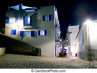 Ibiza island white houses in the night