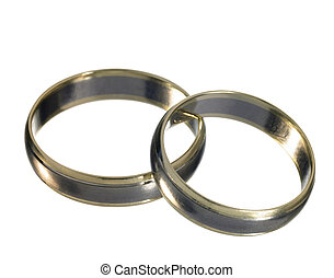 shiny wedding rings - studio photography of two shiny...