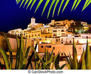 Ibiza Dalt Vila downtown in night lights at Eivissa town