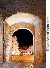 Ibiza castle fort door to Dalt Vila in Eivissa town with...