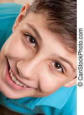 Extreame closeup portrait of a laughing boy - An extreame...