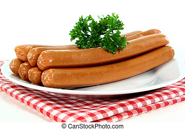 Viennese sausages - Vienna sausages and parsley on a white...