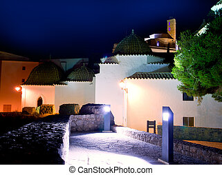 Ibiza Dalt Vila with church night lights - Downtown Ibiza...