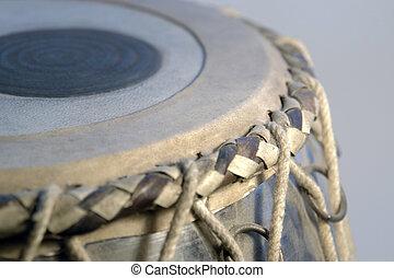 tabla rim - detail of a indian tabla drum in grey back