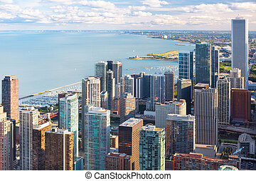 View of Chicago from Hancock Center - View of the city of...