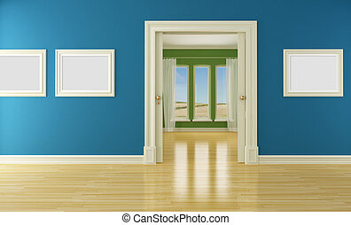 Empty interior with sliding door and window - Blue and green...