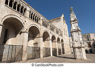 Bitonto (Bari, Puglia, Italy) - Old cathedral in Romanesque style, with (on the right) the Spire of the Immacolata (1733, baroque)
