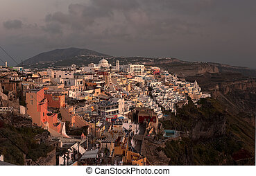 Thira in sunset beams - The capital of Santorini Thira in...