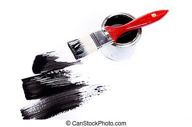 Color Image - Cans and paint and brushes on the Colorful...