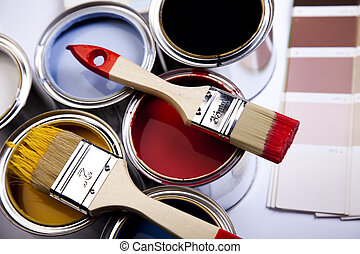 Brush and paint samples - Cans and paint on the colourful...