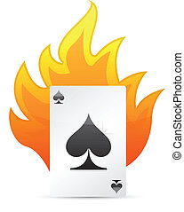 Ace of Spades on fire. illustration