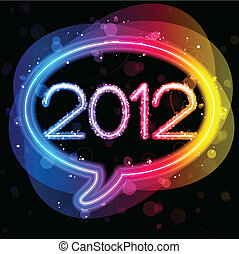 2012 Lights Speech Bubble - Vector - 2012 Lights Speech...