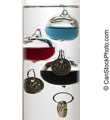 Galileo thermometer - temperature theme showing the detail...